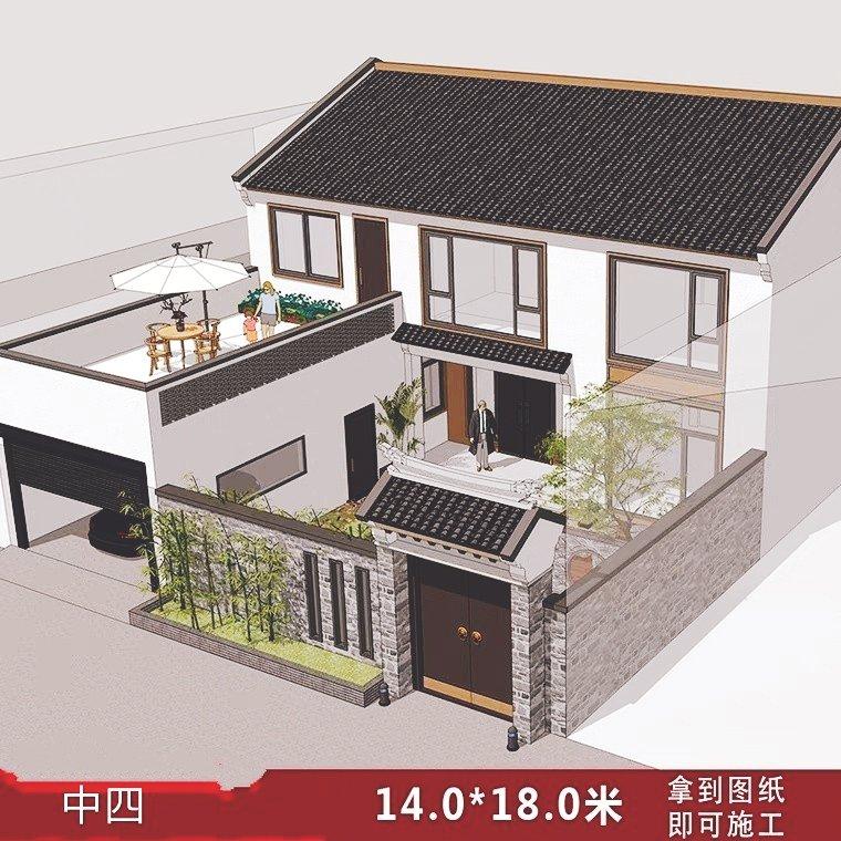 新中式仿古农村自建房全套水暖电施工图纸 - 乡村建房图片
